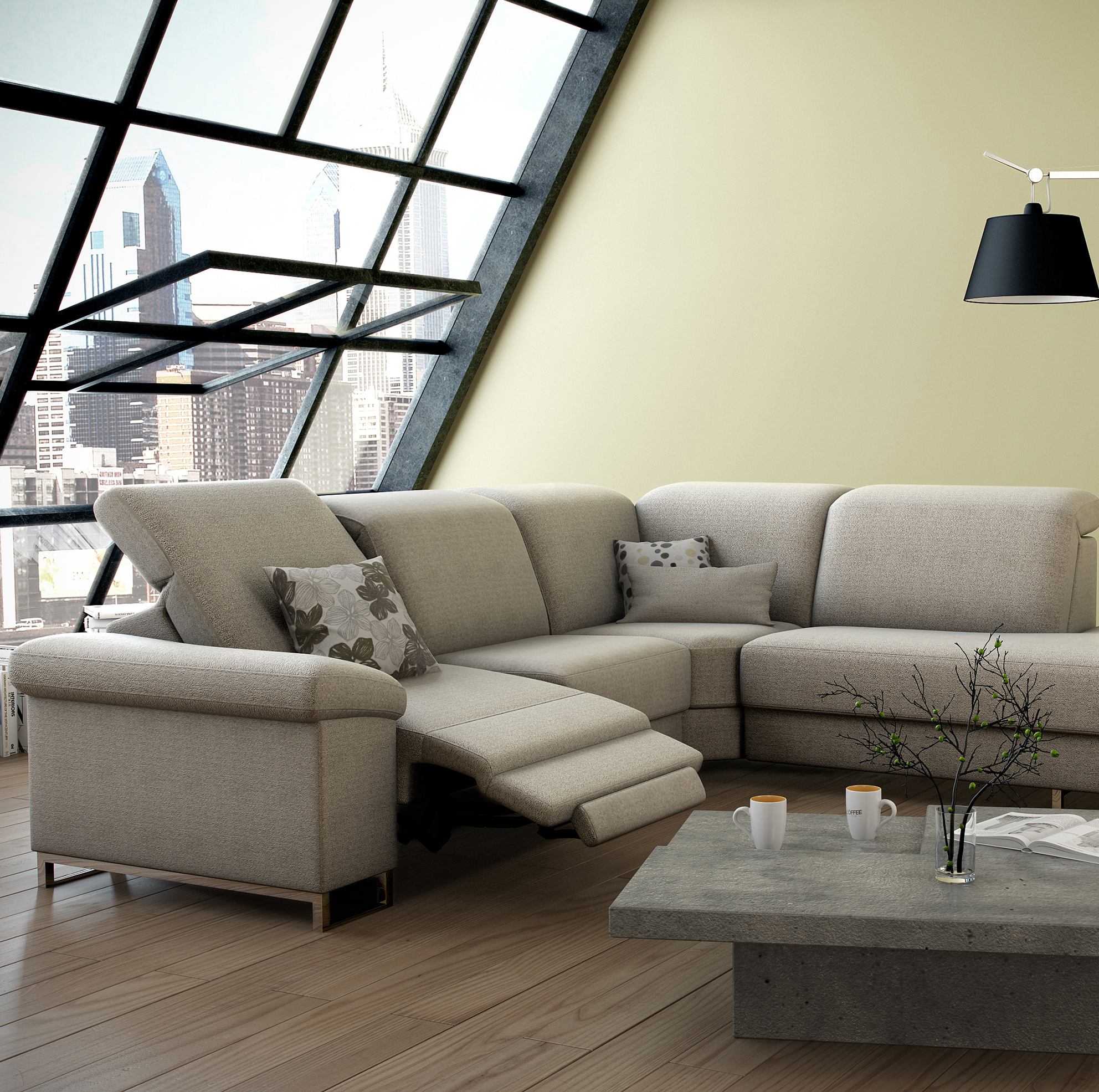 Deimos leather sectional by ROM Belgium at Nova Interiors
