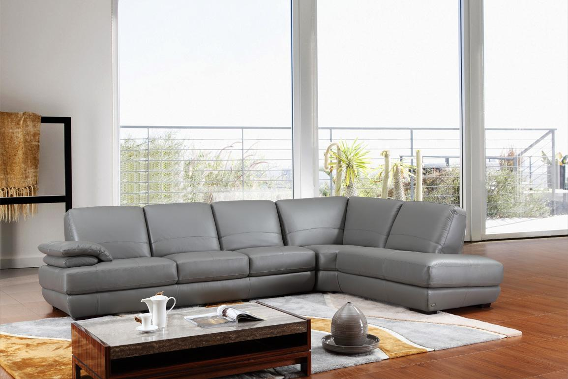 Divani Casa 208ang Modern Grey Italian Leather Sectional