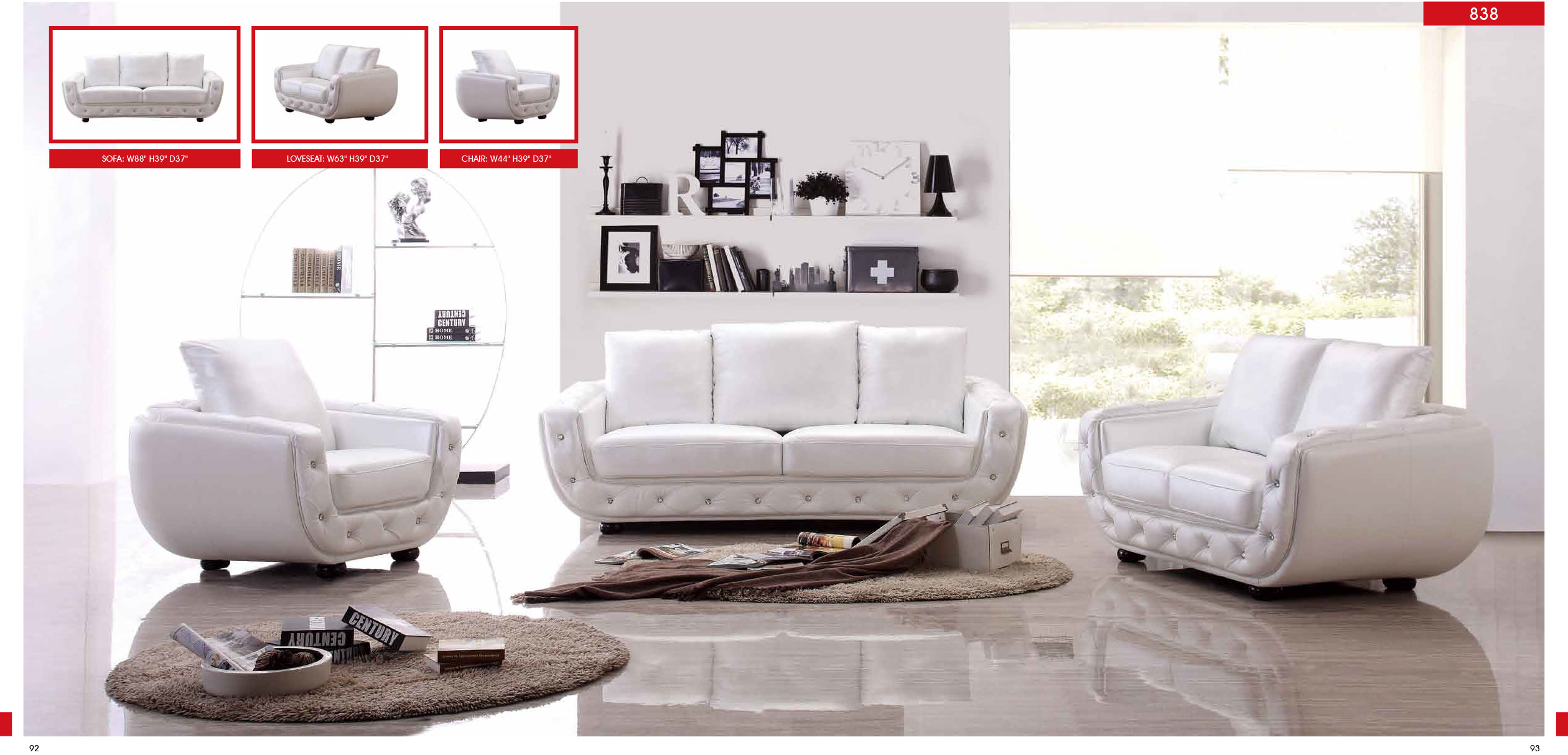 838 Leather Living Room Furniture Sofa Set , ESF - Italmoda ...