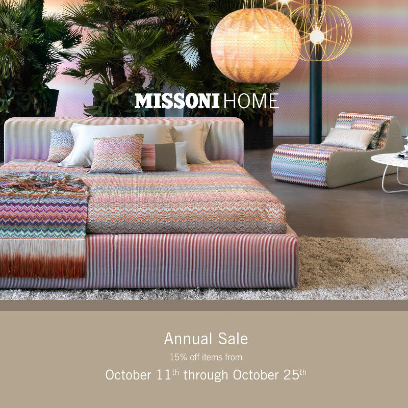 missoni home annual sale 15 off items from october 11th through october 25th italmoda. Black Bedroom Furniture Sets. Home Design Ideas