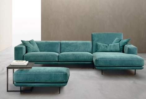 Denny Sectional Sofa with Chaise, Gamma Arredamenti Italy