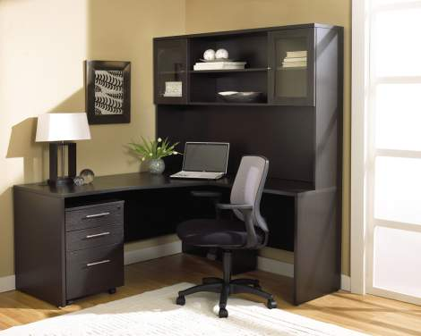"63""R Crescent Desk with 32"" Return, 63"" Hutch, and Mobile Pedestal Unique - Collection 100"