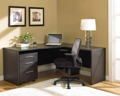 "63"" R. Crescent Desk with 32"" Return and Mobile Pedestal, Unique - Collection 100"
