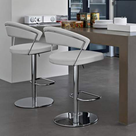 CB/1088-LH New York Leather Swivel Bar Stool, Connubia by Calligaris Italy