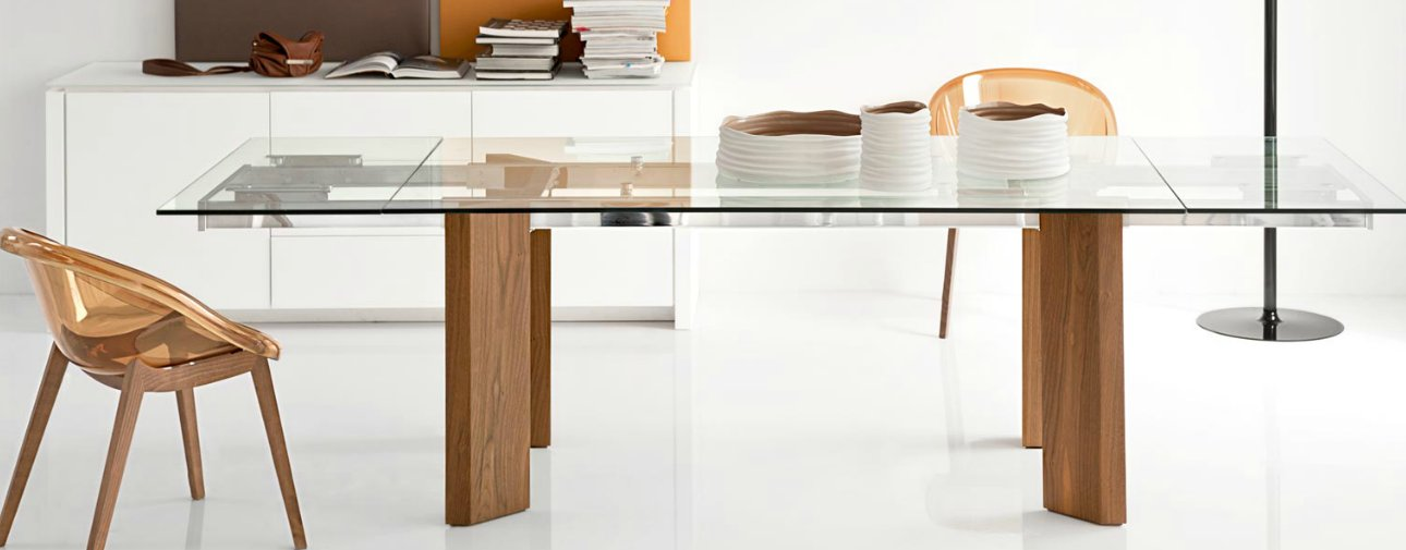 Calligaris Tower Wood and Glass Table